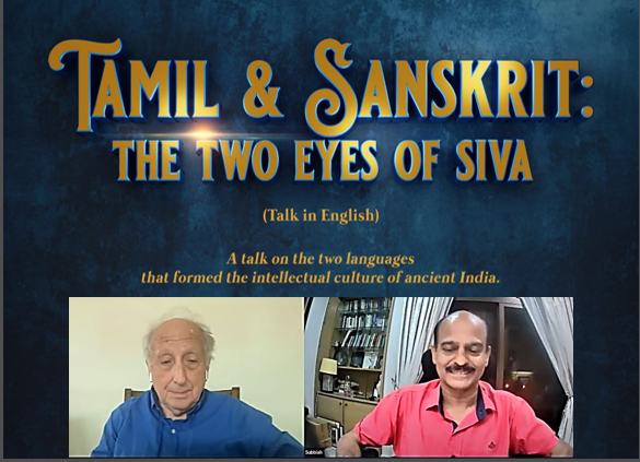 Professor George Hart (left) and moderator Subbiah Lakshmanan hosting the event - Tamil & Sanskrit: The Two Eyes of Siva